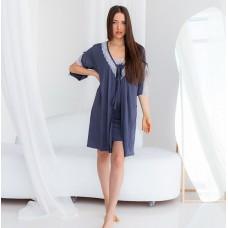 Сорочка женская c халатом серая 6280