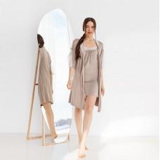 Сорочка женская c халатом пудровая 6281