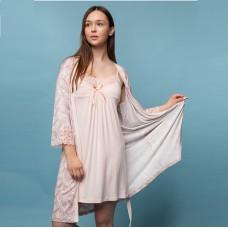 Сорочка женская c халатом персиковая 6291