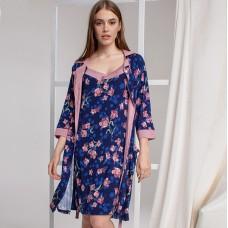 Сорочка женская c халатом цветочная 6300