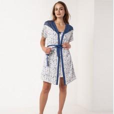 Сорочка женская c халатом синие цветы 6302