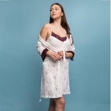 Сорочка женская c халатом цветы 6303