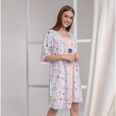 Сорочка женская c халатом нежные цветы 6304