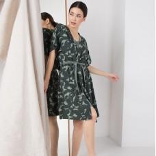 Сорочка женская c халатом зеленая 6305