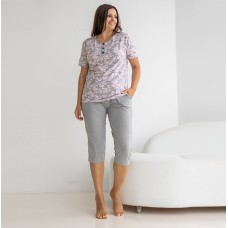 Пижама женский капри серый 7025
