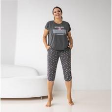 Пижама женский с капри темно-серая 7026