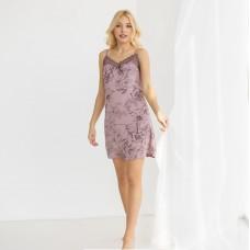 Сорочка женский розовая с цветочным принтом 7036