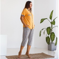 Пижама женская желтая в клетку 7400