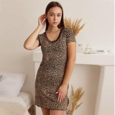 Сорочка женская Леопардовая коричневая 7487