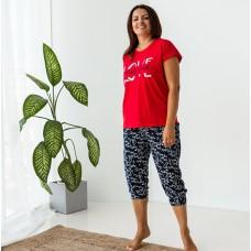 Пижама женская капри красная Love 7497
