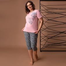 Пижама женская c капри Листья розовая 7500