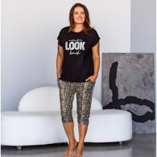 Пижама женская капри леопардовые и футболка 7504