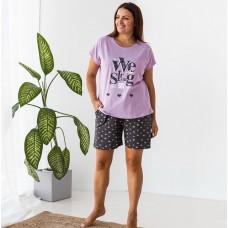 Пижама женская с шортами Лиловая 7527