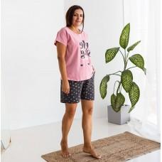 Пижама женская с шортами розовая 7528