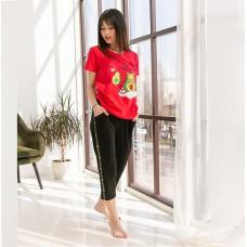 Пижама женская с капри Авокадо 7538