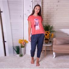 Пижама женская с капри Девушка 7539