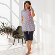 Пижама женская с капри в полоску 7540