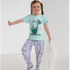 Пижама для девочки с штанами Динозавр 7557