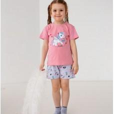 Пижама для девочки с шортами Единорог 7562