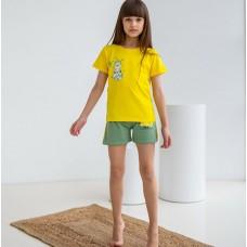 Пижама для девочки с шортами Котик 7563