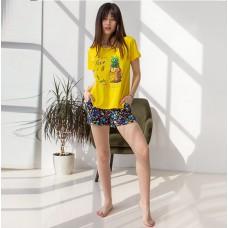Пижама женская шорты Ананас 7571