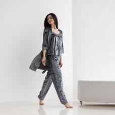 Пижама женская штаны с халатом серая 7581