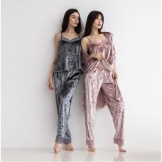 Пижама женская штаны с халатом розовая 7582