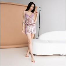 Женская пижама с шортами розовая 7614
