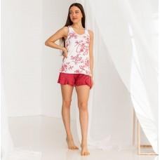 Женская пижама с шортами Цветочная 7615