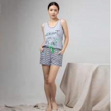 Женская пижама шортами Полоска 7625