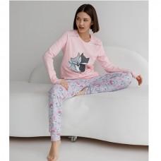 Пижама женская с штанами Лисички 9054