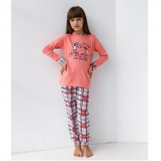 Пижама для девочки с штанами Кот 9075