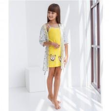 Пижама для девочки с халатом 8989