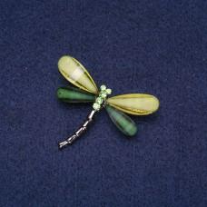 Брошка Стрекоза с зелеными камнями 5805