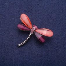 Брошка Стрекоза серебристая 5809