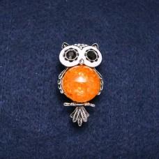 Брошь Оранжевая Сова 7658