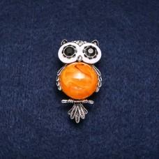 Брошь Оранжевая Сова 7659