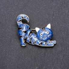 Брошь кошка синяя 7736