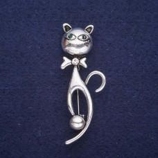 Брошь Кошка серебристая 7739