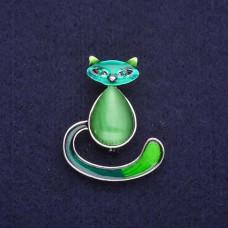 Брошь Кошка зеленая 7740