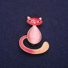 Брошь Кошка розовая 7741