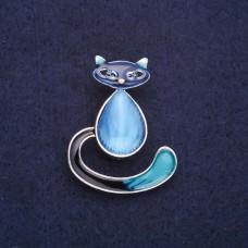 Брошь Кошка синяя 7742