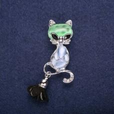 Брошь Кошка зеленая 7746