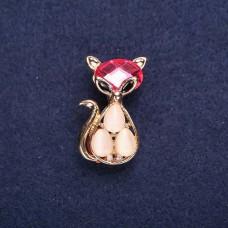 Брошь Кошка розовая в камушках 7749