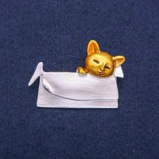 Брошь Кошка с сумочкой 7945