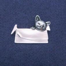 Брошь серая Кошка с сумочкой 7946