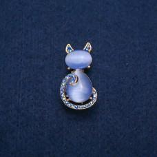 Брошь Кошка голубая 7950