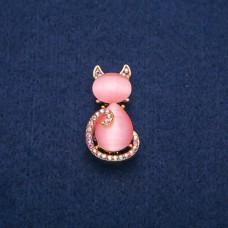 Брошь Кошка розовая 7951