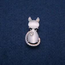 Брошь Кошка белая 7952