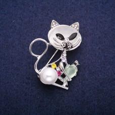 Брошь Кошка с жемчугом 7954